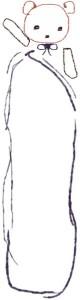 バナー広告のwebデザイン素材:大人可愛いガーリーで大人可愛い、らくがき風のクマとふきだしのフリー素材(160×600pix)