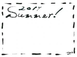 フリー素材:フレーム・飾り枠:640×480pix;大人かわいいモノクロののステッチ(破線)との2011とSummerの手描き文字の飾り枠のwebデザイン素材