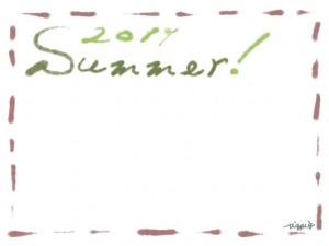フリー素材:フレーム・飾り枠:640×480pix;大人かわいい茶色のステッチ(破線)とうぐいす色(緑)の2011とSummerの手描き文字の飾り枠のwebデザイン素材