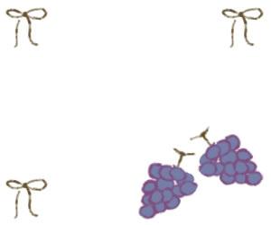 バナー広告、ネットショップのwebデザイン素材:ミディアムレクタングル300×250pix;大人可愛い抹茶色のリボンと葡萄(ブドウ)のイラストのフリー素材