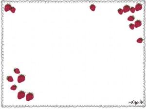 エコ、節電、夏のネットショップ、webデザインのフリー素材:大人かわいい苺(いちご)とレースの乙女のハンカチみたいなの大人可愛い飾り枠(フレーム)