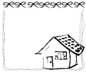 バナー広告、webデザインのフリー素材:大人可愛いモノクロのリボンとお家とラフな手描きラインのフレーム(飾り枠);300×250pix