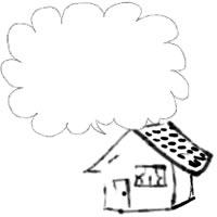 バナー広告、アイコンのwebデザイン素材:大人可愛いお家とふわふわの吹出しのモノクロのネットショップ制作のフリー素材