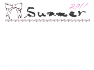 夏のネットショップ、バナー広告、webデザインのフリー素材:大人かわいいブラウンブラックのリボンと手書きの2011Summerの文字のイラストのフレーム