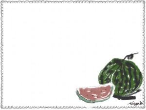 夏のネットショップ、webデザインのフリー素材:大人かわいい西瓜(スイカ)と手書きの2011Summerの文字とレースの飾り枠。大人かわいいフレームのwebデザイン素材