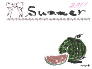 夏のネットショップ、バナー広告、webデザインのフリー素材:ガーリーなスイカとブラウンブラックのリボンと2011Summerの文字のイラスト