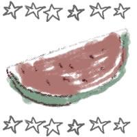 アイコン(twitter,mixi,ブログ)のフリー素材:和風のカットスイカと手描きの星いっぱいのガーリーな夏の季節のwebデザイン素材