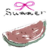 アイコン(twitter,mixi,ブログ)のフリー素材:リボンとsummerの手書き文字とカットカットすいかのイラストのガーリーな夏の季節のwebデザイン素材