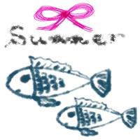 夏のアイコン(twitter,mixi,ブログ)のフリー素材:ピンクのリボンとSummerの手書き文字とガーリーなお魚(2匹)のwebデザイン素材