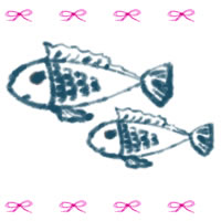 バナー広告、webデザインのフリー素材:ガーリーなお魚と大人可愛いピンクのリボンいっぱいのイラストのガーリーなアイコン(twitter,mixi,ブログ)のフリー素材