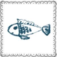 夏のアイコン(twitter,mixi,ブログ)制作のwebデザイン素材:ガーリーな魚と大人かわいいグレーのレースの囲み枠のフリー素材