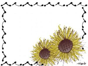 フリー素材:花のフレーム;大人可愛い向日葵(ひまわり)2輪。ネットショップ、バナー広告、webデザインの写真加工に。