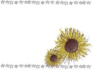 フリー素材:花のフレーム;ガーリーな向日葵(ヒマワリ)と手描きの星いっぱいのフレーム