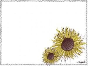 フリー素材:花のフレーム;大人かわいいひまわりとガーリーな手描きのレースのイラスト