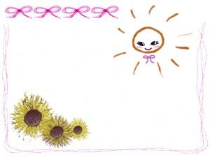 夏のwebデザインのフリー素材:ガーリーな太陽とヒマワリとピンクのリボンいっぱいのフレーム(囲み枠)のイラスト