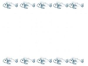 フリー素材:ガーリーな青い魚いっぱいのネットショップ、バナー広告、webデザインのフレーム(飾り罫)