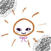 夏のアイコン(twitter,mixi,ブログ)のフリー素材:大人可愛いグレーのレースとガーリーな太陽のイラストのwebデザイン素材