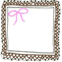 ネットショップ、バナー広告のwebデザイン素材:ピンクのリボンと茶色の大人かわいい手編みレース風飾り枠のイラストのフリー素材