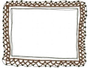 ネットショップ、webデザインのフリー素材:ガーリーな茶色の大人カワイイ手編みレース風飾り枠。大人かわいいフレームのwebデザイン素材