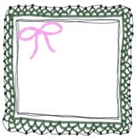 バナー広告、webデザインのフリー素材:大人かわいいピンクのリボンとモスグリーンのガーリーな手編みレースのフレームのアイコン(twitter,mixi,ブログ)のフリー素材
