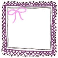 バナー広告、webデザインのフリー素材:大人かわいいピンクのリボンと赤紫のガーリーな手編みレースのフレームのアイコン(twitter,mixi,ブログ)のフリー素材