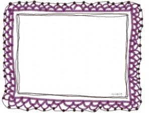 ネットショップ、バナー広告、webデザインのフリー素材:大人かわいい紫色のガーリーな手編みレースのフレーム
