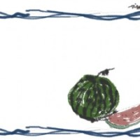 夏のフリー素材:フレーム;海の波みたいなラフなラインの飾り枠とスイカのイラストの無料素材
