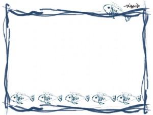 フリー素材:フレーム;シンプルで大人可愛いラフなラインと青い魚のイラストの飾り枠(フレーム)640×480pix