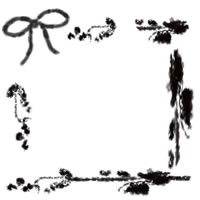 フリー素材:アイコン(twitter,mixi,ブログ)のイラスト;大人かわいいモノクロのりぼんと枝と葉と小さな実の北欧風フレーム200×200pix
