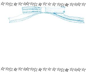 フリー素材:バナー広告、webデザインのフレーム;大人可愛い手描きの星とブルーのリボンのフレーム(飾り枠);300×250pix