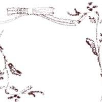 ネットショップ、バナー広告のフリー素材:ナチュラルな茶色の花と枝とリボンのイラストの飾り枠(フレーム)300×250pix