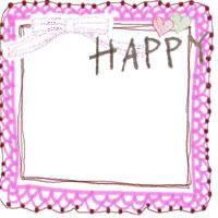 バナー、アイコンのフリー素材:ガーリーなレースの飾り枠とハートと手書き文字「HAPPY」とリボンのイラストのフレーム(飾り枠)