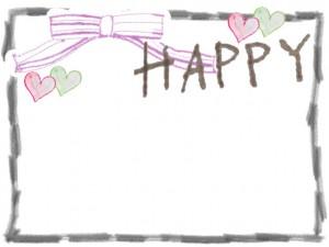 フリー素材:フレーム,飾り枠;シンプルな鉛筆風の囲み枠とピンクのリボンとHAPPYの文字と小さなハート