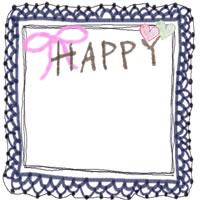 フリー素材:フレーム;大人かわいい紺色のレースの飾り枠とHAPPYの手描き文字とピンクのりぼんのバナー広告,アイコン制作の無料イラスト;200×200pix