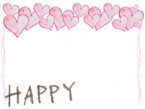 フリー素材:フレーム;HAPPYの手書き文字と水彩のハートいっぱいのネットショップ制作、webデザインの飾り枠