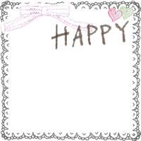 フリー素材:バナー,アイコンのフレーム;ガーリーなレースのハンカチみたいな飾り枠とハートと手書き文字HAPPYとリボンのイラストの飾り枠(200×200pix)