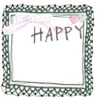フリー素材:アイコン:ガーリーで大人かわいいモスグリーンのレースの飾り枠とリボンとHAPPYの手書き文字とハートのイラスト