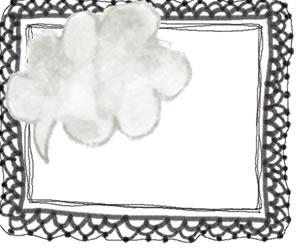 フリー素材:バナー広告,フレーム; 大人かわいいフレーの吹出しと黒のレースのイラストの飾り枠;300×250pix