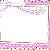 フリー素材:フレーム;ガーリーなピンクのストライプのりぼんとレースの大人かわいい飾り枠;640×480pix