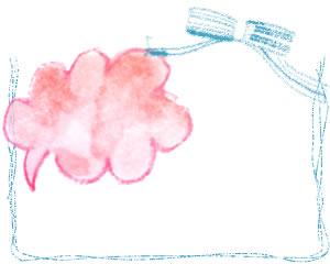 フリー素材:フレーム;ガーリーで大人かわいい水色のりぼんとラフなラインの囲み枠とピンクの水彩のふきだしの無料イラスト