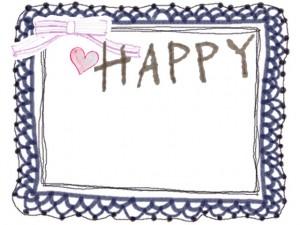フリー素材;ガーリーなフレーム,飾り枠;大人可愛い紺色のレースとピンクのリボンと小さなハートとHAPPYの手描き文字