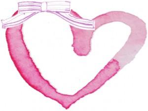 フリー素材:フレーム;ガーリーなピンクのリボンと水彩のハートの無料イラストの囲み枠;640×480pix