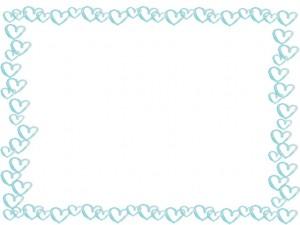 フリー素材:フレーム;ガーリーな水彩の淡い水色のハートのイラストいっぱいの囲み枠;640×480pix