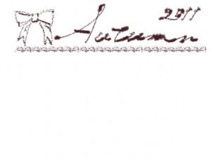 フリー素材:秋のフレーム;ガーリーなりぼんとクリームみたいなラインと茶色とAutumn2011の手書き文字