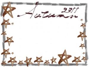フリー素材:フレーム;大人カワイイ茶色の水彩の星とAutumn2011の手書き文字と鉛筆のラフな飾り枠;640×480pix