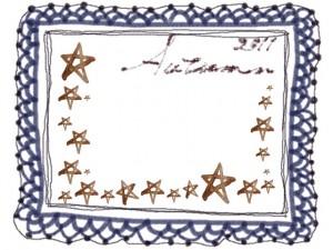 フリー素材:レースのフレーム;紺色の大人かわいいレースの飾り枠と水彩の茶色の星とAutumn2011の手書き文字;640×480pix