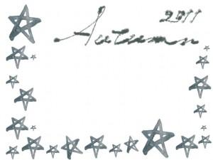 フリー素材:モノクロのフレーム;大人可愛いグレーのAutumn2011の手書き文字と星いっぱいの飾り枠