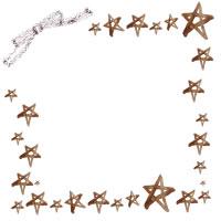 フリー素材:アイコン(twitter,mixi);大人可愛いブラウンブラックのリボンと茶色の水彩の星いっぱいのフレーム