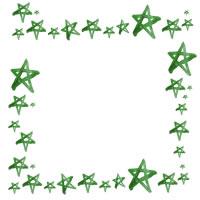 フリー素材:アイコン(twitter,mixi);大人可愛いくすんだグリーンの水彩の星いっぱいのイラストのフレーム;200×200pix