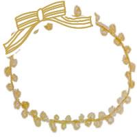 ガーリーなフレームのフリー素材:アイコン(twitter,mixi,ブログ);シンプルな芥子色のリボンとレースの縁飾りみたいな飾り枠;200×200pix